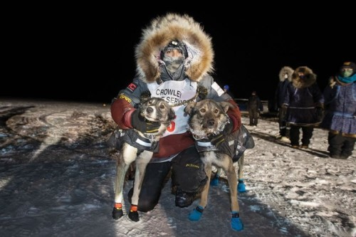 Aniak musher Richie Diehl is the winner of this year's Bogus Creek 150 Sled Dog Race. He crossed the finish line at 4:58am early Sunday morning with a total elapsed time of 16 hours and 58 minutes. His lead dogs are Demi and Meyer. Photos by Greg Lincoln
