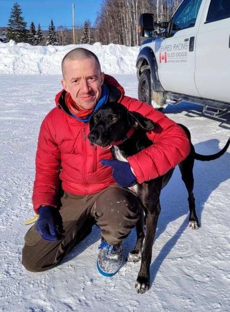 Mathieu Devred of Whitehorse, Yukon, and his lead dog Sheriff, after setting the latest track record for the 6 dog class 6.2 miles.  Nina Ruckhaus Warf photo