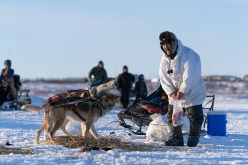 Fr. Alexander Larson brings snacks to his team at the Bethel midway checkpoint during the Kuskokwim 300 Sled Dog Race on February 13, 2021. Larson placed fourth in the race, and won both the Rookie of the Year Award and the Joe Demantle Jr. and Robert Ivan Award. CREDIT KATIE BASILE / KYUK