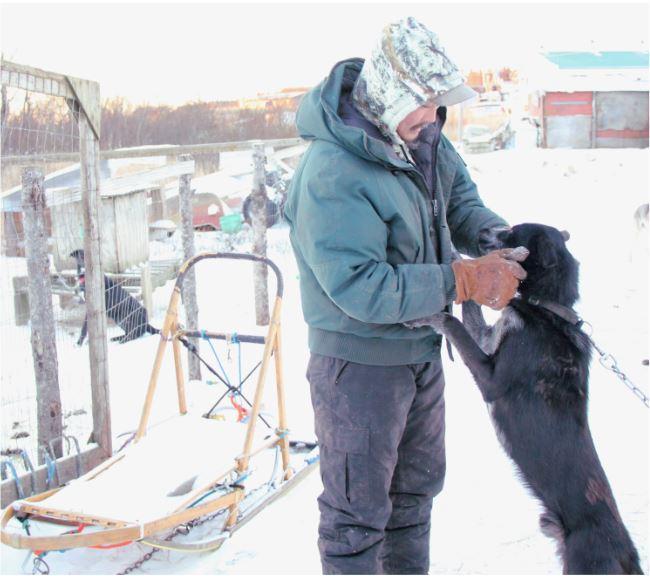 John Hanson Jr. at his dog yard in New Stuyahok