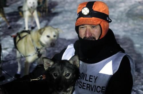 Napaskiak musher Jackie Larson celebrates his 2021 Akiak Dash win in Bethel Alaska on February 13, 2021. CREDIT GABBY HIESTAND-SALGADO / KYUK