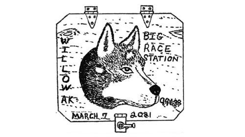 This postmark for the 2021 Iditarod is canceled from the modified race start and finish location of Willow, Alaska.